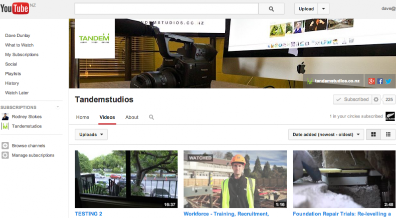 Tandem Studios You Tube Page